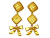 Vintage Chanel earrings rhombus ribbon dangle