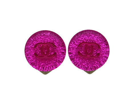 Vintage Chanel earrings CC logo glitter pink round