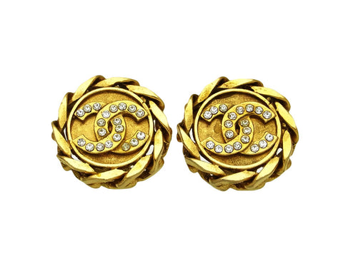 Vintage Chanel earrings rhinestone CC logo round