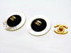 Vintage Chanel earrings CC logo round black white
