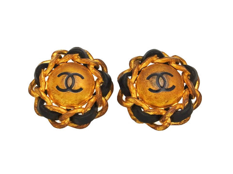 Vintage Chanel earrings CC logo round black leather
