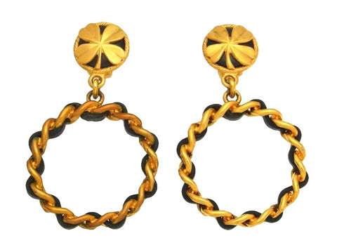 Vintage Chanel earrings clover leather hoop dangle