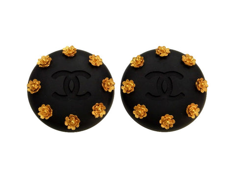 Vintage Chanel earrings CC logo camellia black round