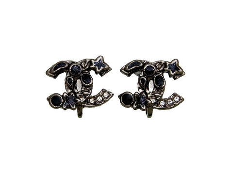 Vintage Chanel earrings black CC logo rhinestone
