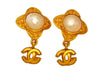 Vintage Chanel earrings pearl flower CC logo dangle