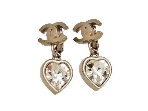 Vintage Chanel earrings CC logo rhinestone heart dangle