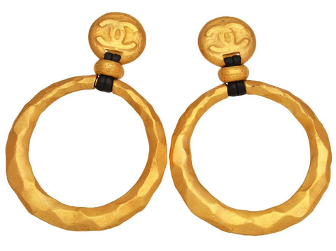 Vintage Chanel earrings hoop dangle as seen on Beyonce