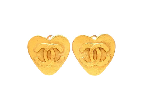 Authentic vintage Chanel earrings gold CC heart