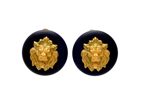 Authentic vintage Chanel earrings Black Round with Gold Lion
