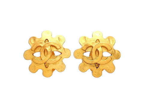 Authentic vintage Chanel earrings gold CC logo flower