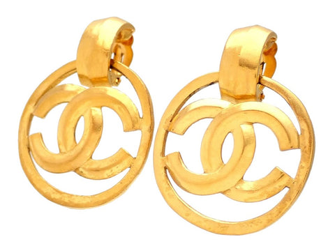 Authentic vintage Chanel earrings gold CC logo hoop dangle