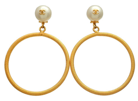 Authentic vintage Chanel earrings dangled gold hoop CC pearl