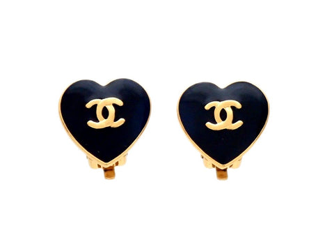 Authentic vintage Chanel earrings Black heart gold CC logo