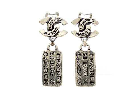 Authentic vintage Chanel earrings silver CC logo dangled plates lettering