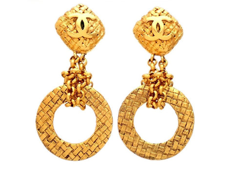 Authentic vintage Chanel earrings gold CC logo dangled thick hoop