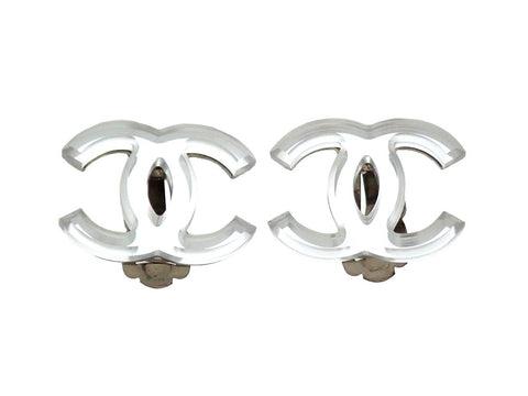 Authentic vintage Chanel earrings clear silver CC logo