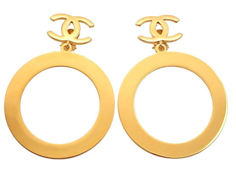 Authentic vintage Chanel earrings gold CC logo clip huge hoop dangle