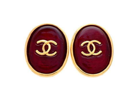 Authentic vintage Chanel earrings gold CC Red stone Round double C