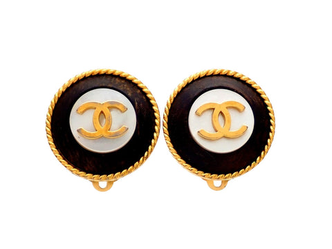 Authentic vintage Chanel earrings gold CC Round Black Wood White