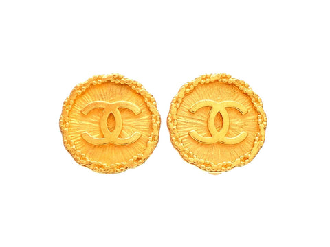 Authentic vintage Chanel earrings gold CC Framed round double C