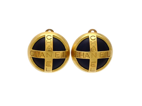 Authentic vintage Chanel earrings gold CC Black round gold cross logo