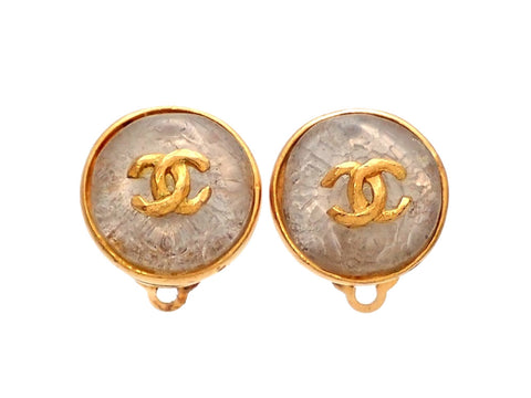 Authentic vintage Chanel earrings gold framed clear stone double C
