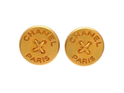 Authentic vintage Chanel earrings gold CC round button logo