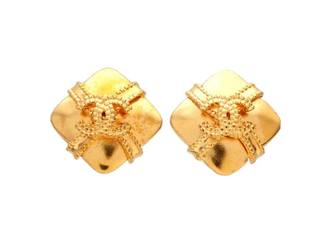 Authentic vintage Chanel earrings gold CC Ribbon Crossed Spuare