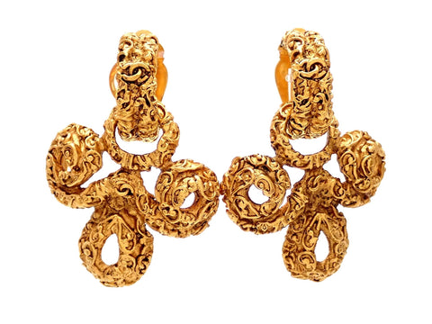 Authentic vintage Chanel earrings gold CC two way dangled decorative