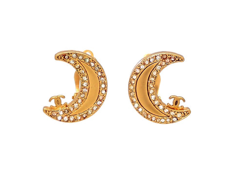 Authentic vintage Chanel earrings double C moon rhinestones