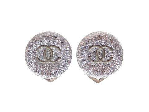 Authentic vintage Chanel earrings silver clear plastic stone double C