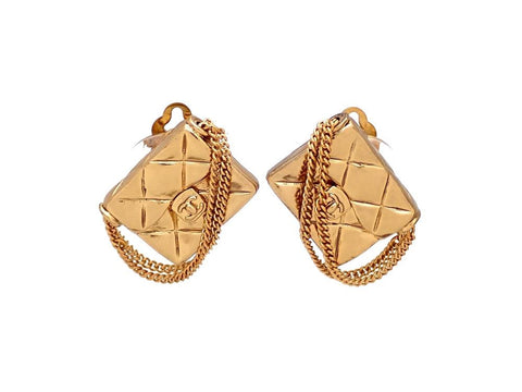 Authentic vintage Chanel earrings gold quilted bag