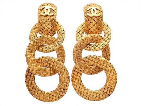 Authentic vintage Chanel earrings gold two way triple mesh hoop dangled