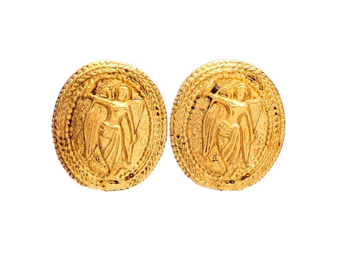 Authentic vintage Chanel earrings gold angel medal