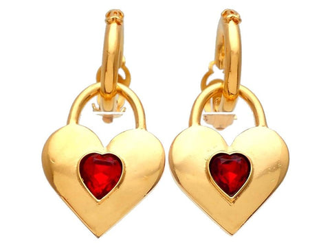 Authentic vintage Chanel earrings gold two way hoop dangled heart padlock red stone