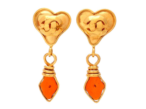 Authentic vintage Chanel earrings gold heart clip double C amber stone dangled