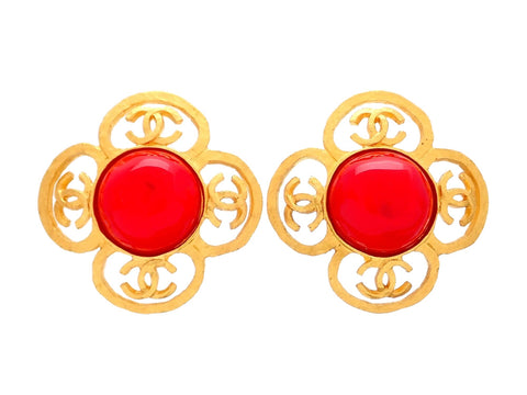 Authentic vintage Chanel earrings flower CC logo red stone