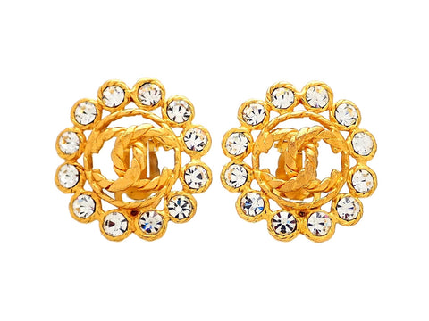 Authentic vintage Chanel earrings gold CC logo rhinestone round