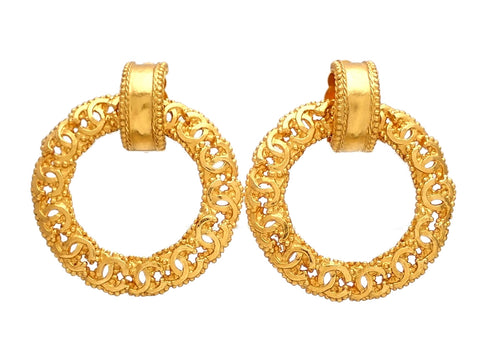 Authentic vintage Chanel earrings gold CC logo hoop dangled