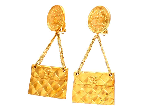Authentic vintage Chanel earrings CC logo medal quilted bag dangled