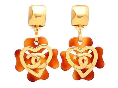 Authentic vintage Chanel earrings Tortoiseshell clover CC logo heart dangled