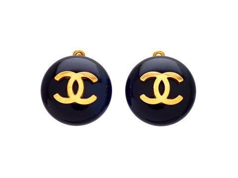 Authentic vintage Chanel earrings CC logo black round small