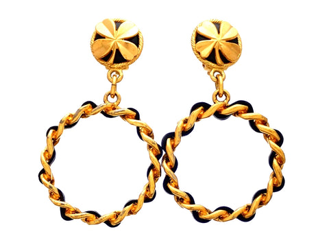Authentic vintage Chanel earrings clover round clip chain hoop dangled