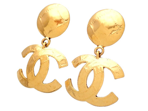 Authentic vintage Chanel earrings Dotted Round Clip CC logo double C Dangled