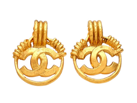 Authentic vintage Chanel earrings CC logo hoop dangled