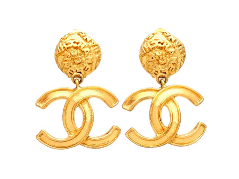 Authentic vintage Chanel earrings logo round clip CC logo double C dangled