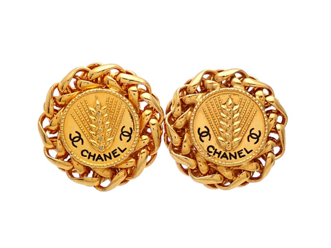 Authentic vintage Chanel earrings round chain wheat CC logo