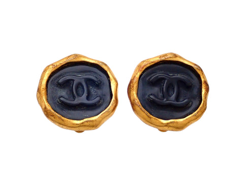 Authentic vintage Chanel earrings Black CC logo Sealing round stamp