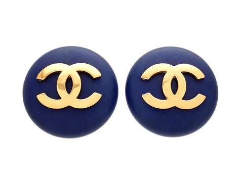 Authentic vintage Chanel earrings Navy Round CC logo