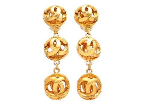 Authentic vintage Chanel earrings CC logo Balls Dangled